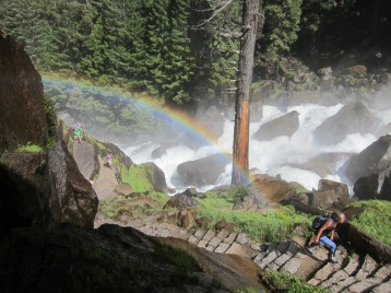 Rainbow over the Mist Trail on the way to Vernal Falls
