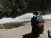 Brandon surveying the rushing rapids above Vernal Falls