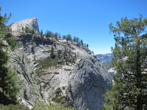 Our first view of the summit of Half Dome after ascending from Little Yosemite Valley