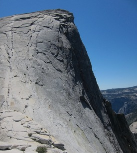 Half Dome looming above, cables to the left