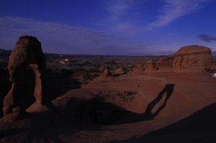 The shadow of Delicate Arch, cast by the full moon