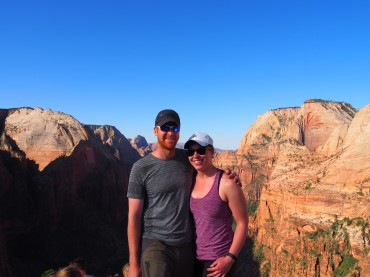Happy hikers at the top of Angel's Landing