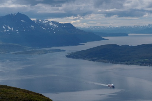 View of the Hurtigruten from the second of three summits during our hike on Thursday 8/10.