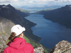 Admiring the fjord in all its majesty