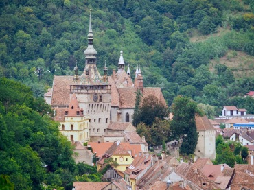Sighisoara and its Clock Tower as seen from Casa La Grecu