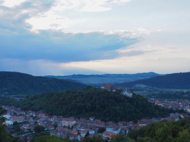 Looking down on Sighisoara from the top of another hill