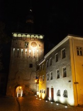 The other side of the clock tower at night