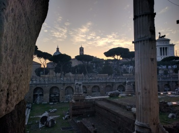 Looking across The Forum at sunset