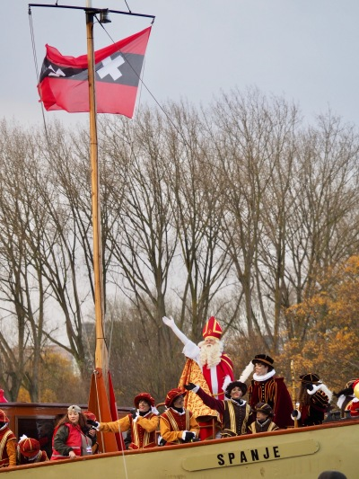 Sinterklaas making his entrance into Amsterdam on his steam boat