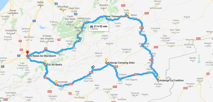 Map of our route, from Marrakech to Merzouga and back.